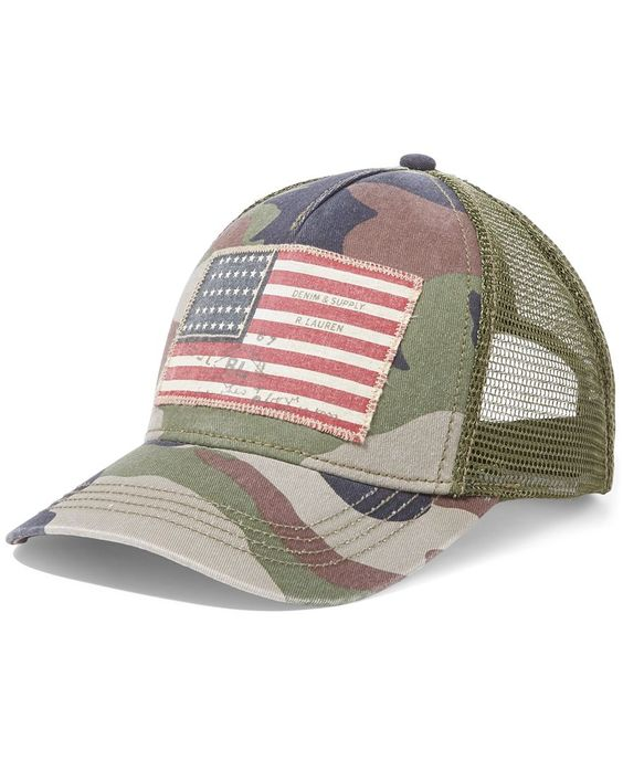 A distressed flag patch gives this camo twill cap from Denim & Supply Ralph…