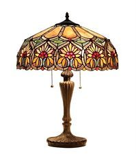 """Tiffany Style Stained Glass Floral 2 Light Table Lamp 18"""" Shade Handcrafted New"""
