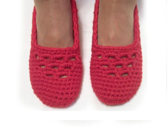 red crochet slippers, lilac woman house slippers, christmas gift, friend gift, size 5 6 7 8 9 10 by ukraisa on Etsy