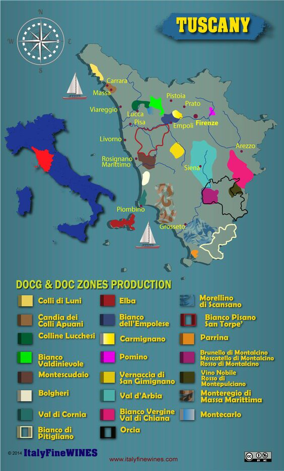 Tuscany wine region with details of doc and docg appellations. Download it at www.italyfinewines.com