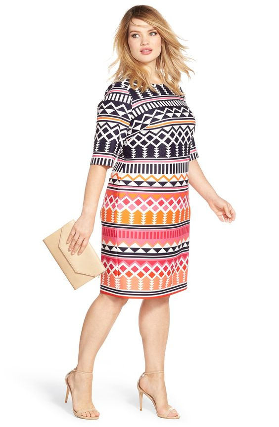 Eliza J Geo Print Elbow Length Sheath Dress (Plus Size)