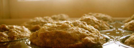 corny oat banana bread muffins in pan cooling on windowsill