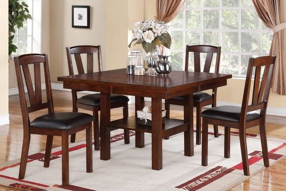 Dining Table With 4 Chairs F2272A strong design of bold lines and dark hues, this formal dining table set features chairs, benches and tables of various heights and a bench covered in a dark walnut finish in solid wood birch veneer. 5 Pc Dining Set Sale for $605
