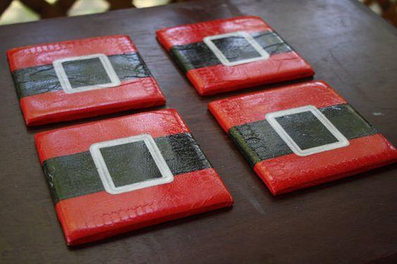 santa belt ceramic tile coasters. set of four. by carrieqberry, $15.00