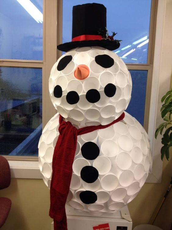Snowman and cups on pinterest for Cup snowman