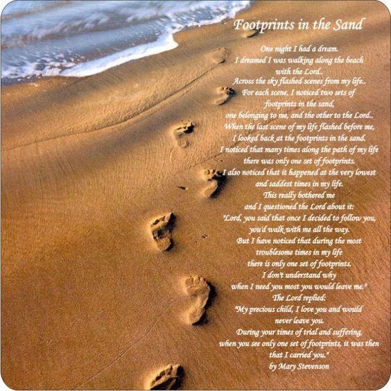 Original Footprints In The Sand Poem Mary Stevenson footprints in t...