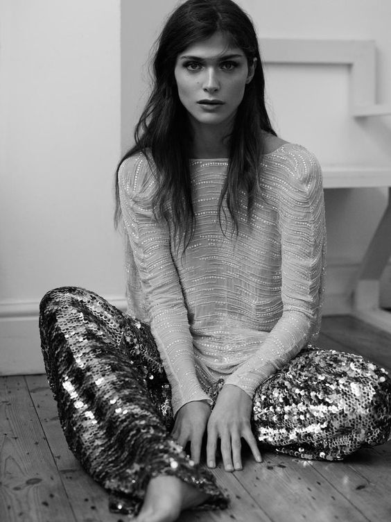 sequined pants. Elisa Sednaoui photographed by Laurence Ellis for L'Officiel Paris December/January 2014/2015