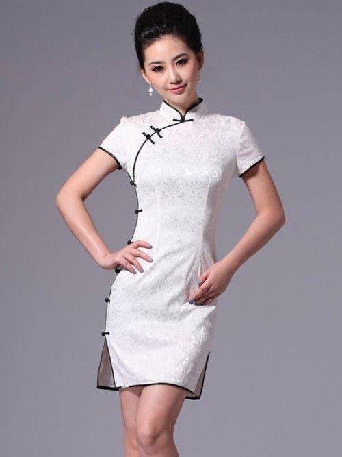white short cheongsam qipao chinese wedding party