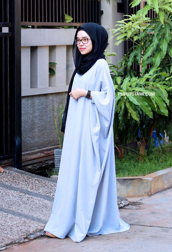 Long Blue scarf with Black hijab for party