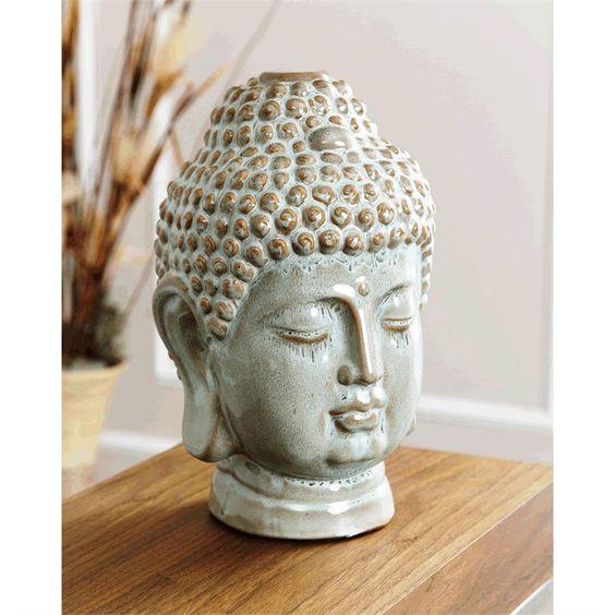 $149.00 save 42% now  $86.95 Ceramic Buddha Head Figurine in Antique Turquoise