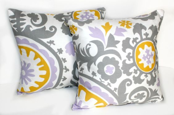2 DECORATIVE PILLOW Covers - THROW Pillows - 18 x 18 inches - Gray Purple Yellow Suzani. $30.00, via Etsy.