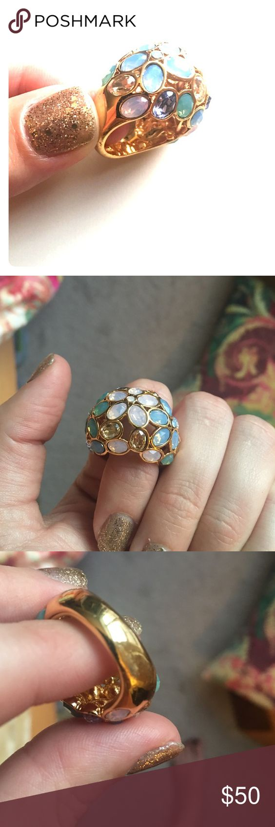 Coach ring ❤️ Beautiful coach ring! Gold with different colors. Never worn. Only minor flaw is scratching on side of ring, but not noticeable when worn!! Offers considered :) Coach Jewelry Rings