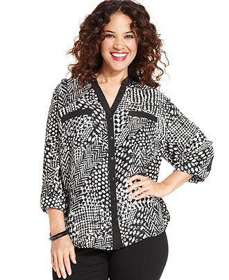Elementz Plus Size Top, Three-Quarter-Sleeve Printed Utility Shirt - Plus Size Tops - Plus Sizes - Macy's