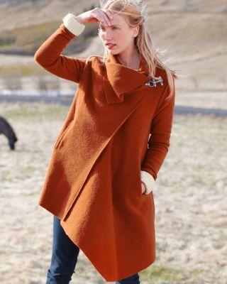 Asymmetrical Boiled Wool Coat~ Garnet Hill | My Style | Pinterest