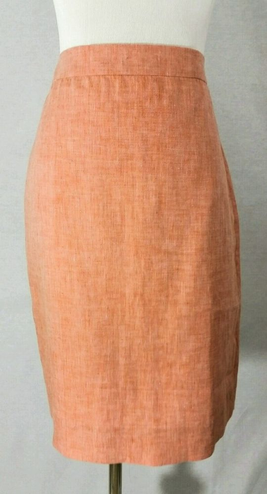 J Crew Women's Linen Orange Peach Coral Lined Pencil Straight Skirt Size 6 EUC…