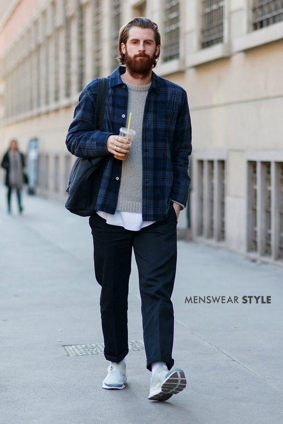 We photography this cool city casual look featuring a check shirt jacket and grey lambswool jumper on the streets of Milan.