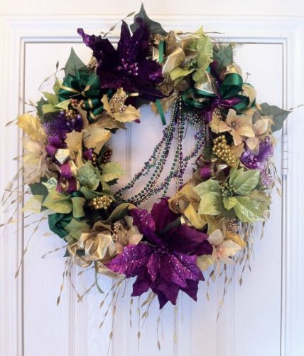 "Mardi Gras 22"" Floral Wreath green, purple, gold, faux silk flowers, ribbon"