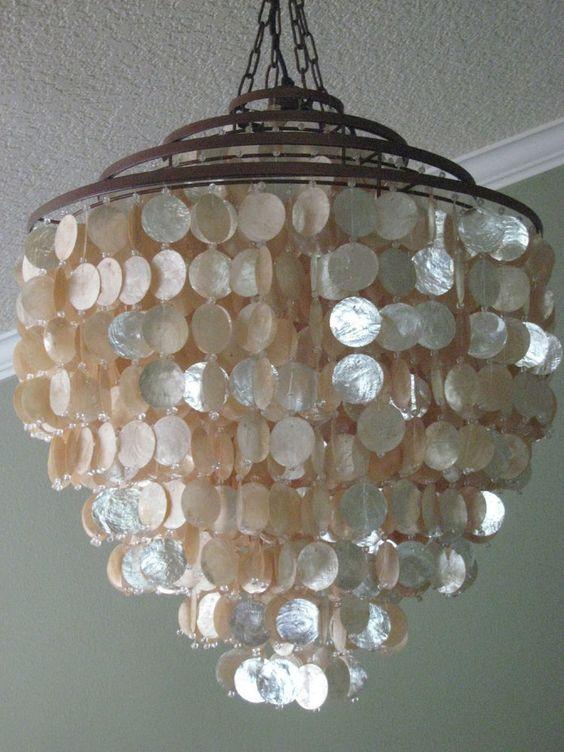 Stunning shimmer seaside coastal ivory capiz shell for Shell ceiling light fixtures