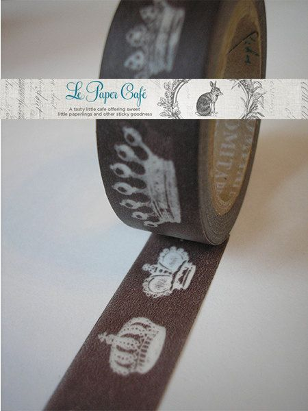 ROYAL BROWN CROWNS Kings & Queens Washi Tape  by LePaperCafe, $3.85