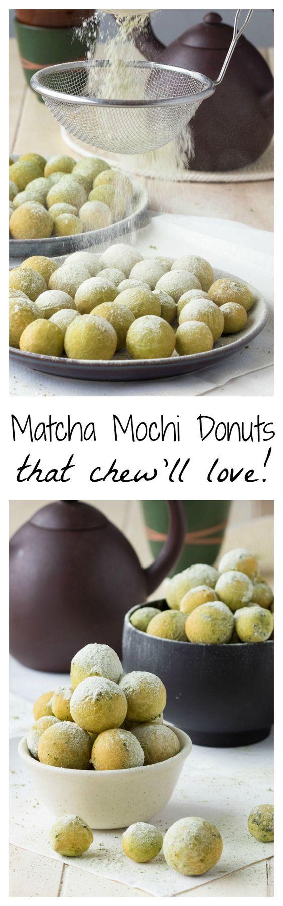 Matcha Mochi Donuts that chew'll love!  #japaneasy #matcha