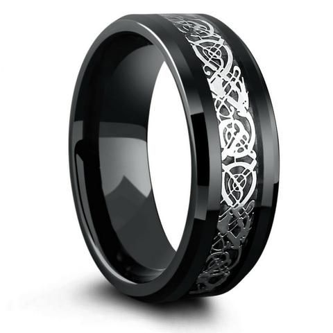 Silver Tungsten Wedding Ring With Celtic Inlay Design Celtic Wedding Rings Black Tungsten Wedding Band Celtic Wedding