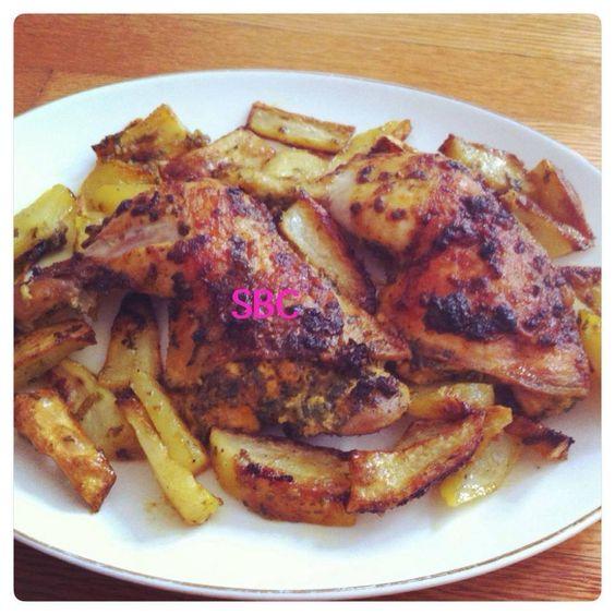Moroccan Style Chicken~~~  1lbs chicken  1 big potato 2 chopped garlic cloves A handful chopped Parsley  Cilantro 2 tsp olive oil 2 tsp lemon juice 1 tsp ginger Salt  pepper to taste 1/2 teaspoon turmeric a pinch of crumbled saffron threads