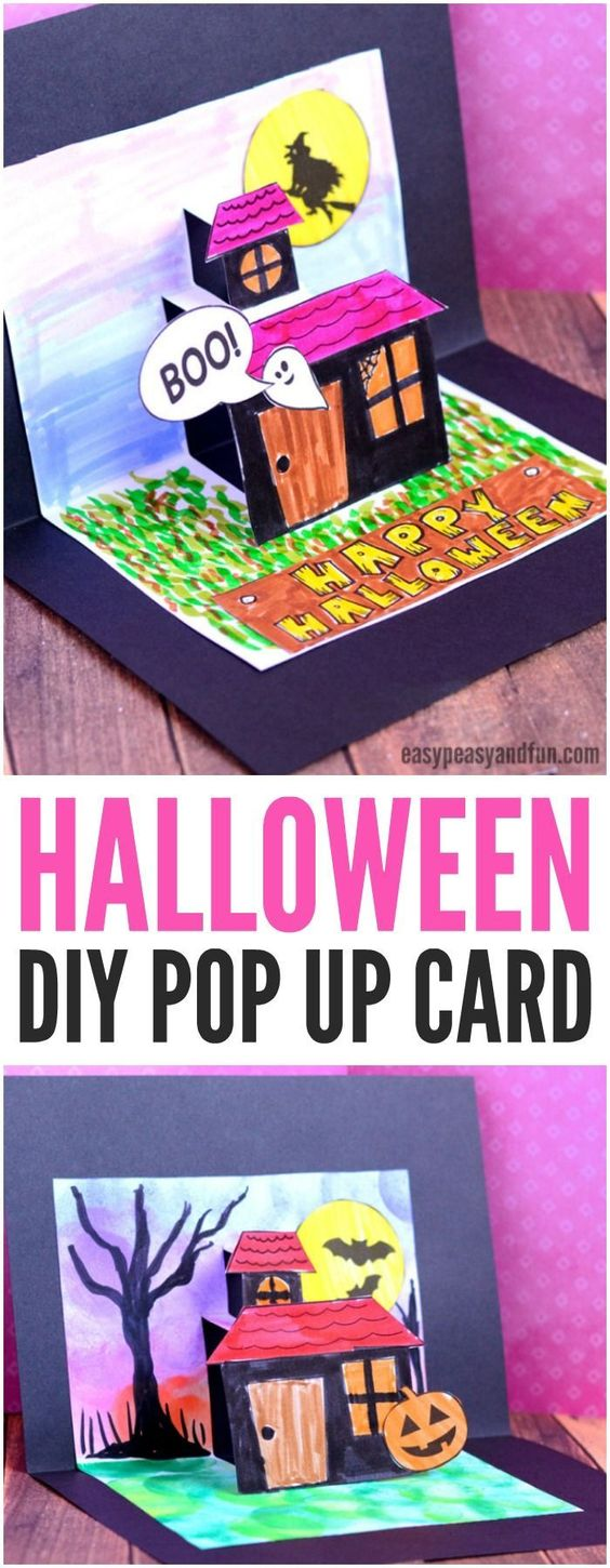 DIY Halloween pop up card template. Fun Halloween craft for kids to make at home or in classrooms. #halloween #popupcard