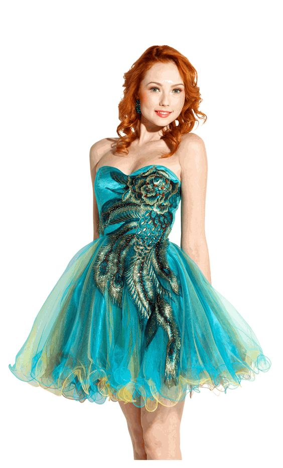 Metallic Peacock Embroidered Party Prom Dress Junior Plus Size