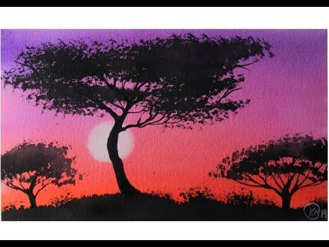 Easy Watercolor Sunset For Beginners Afrika Youtube Aquarell