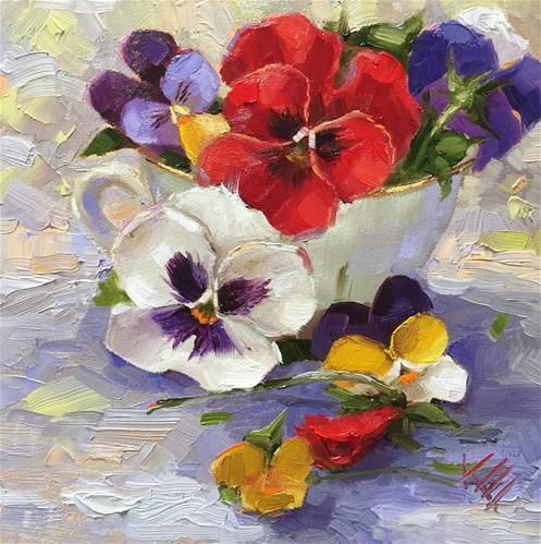 "Daily Paintworks - ""Cup of Joy"" - Original Fine Art for Sale - © Krista Eaton"