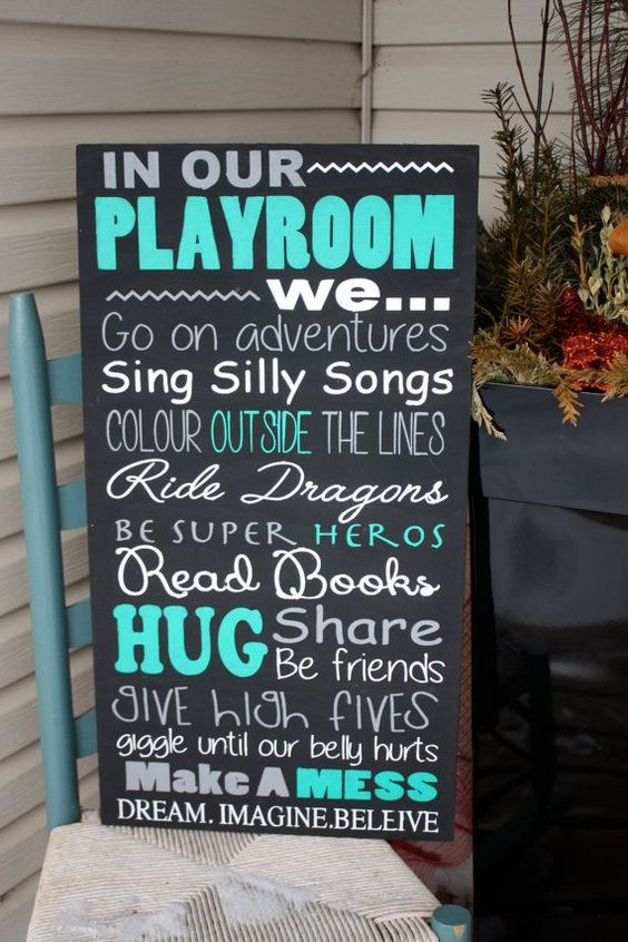 Playroom rules playrooms and wood signs on pinterest for Kids room signs