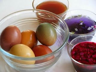 Naturally dyed easter eggs. Includes a chart of what items will produce what colors.