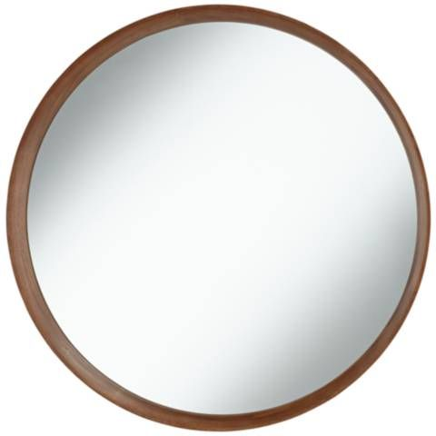Kieran Golden Walnut 31 1 2 Round Wall Mirror 58g80 Lamps Plus Round Wall Mirror Mirror Wall Lighted Wall Mirror