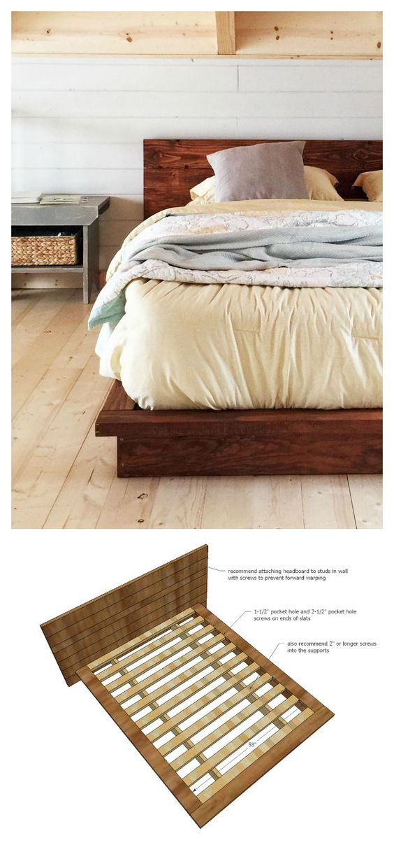 Diy 2x lumber bed ana white build a rustic modern 2x6 for Simple diy platform bed