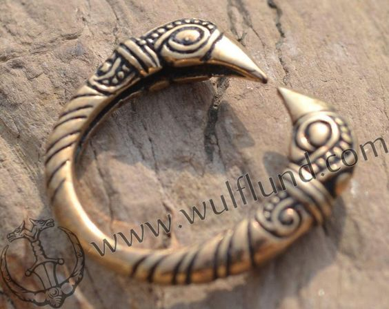 VIKING RAVEN HEAD RING, bronze - galerie 1