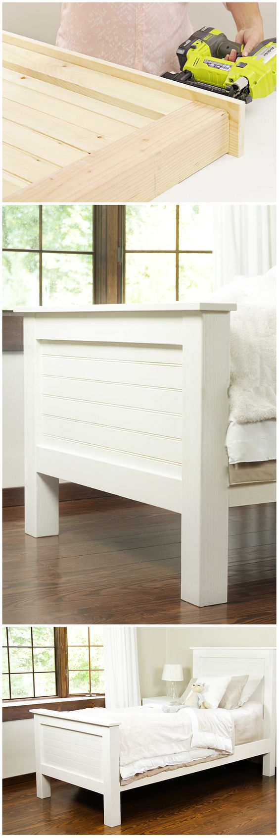 This DIY bed frame made from tongue and groove pattern stock board would be a charming addition to your bedroom. We'll show you how to make it. See our step-by-step DIY instructions on The Home Depot Blog.