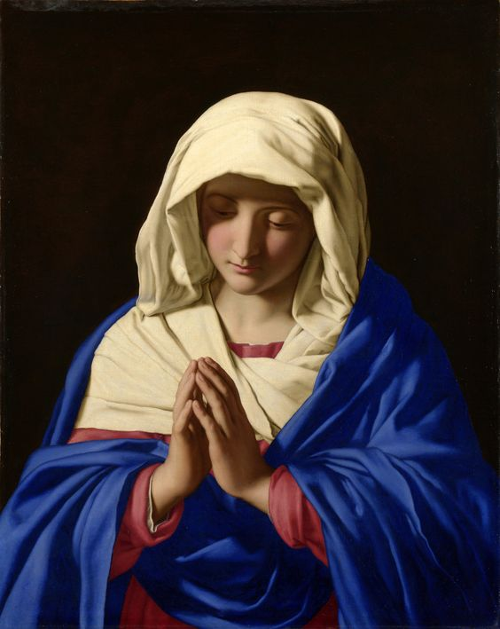 Sassoferrato - The Virgin in Prayer, 1640-50. Oil on canvas   From the National Gallery of London.