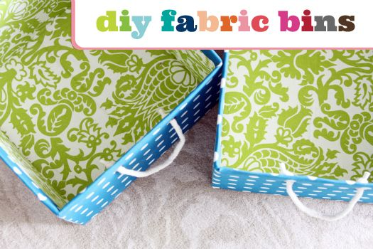 pretty fabric bins from cardboard boxes - love