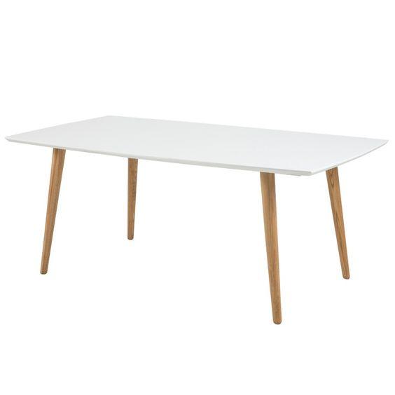 Tischplatte weiß hochglanz  Esstisch Romin 180x100cm Holz Tischplatte weiß Hochglanz Beine ...