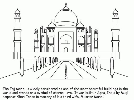 Collection Of Landmarks Around The World Coloring Pages Taj Mahal Coloring Page