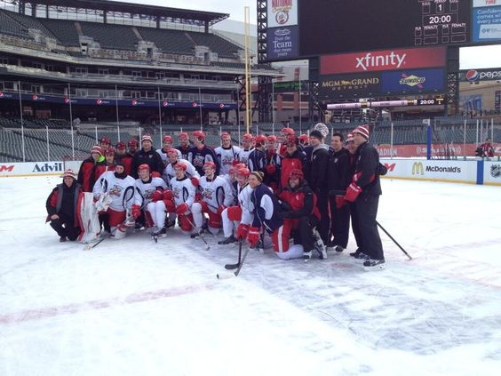 morning skate at Comerica Park before the Griffins/Marlies game (12/20/13)