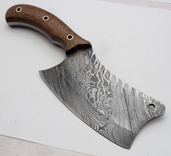 Hand Made Custom Damascus Steel Cleaver Knife by Bestforselect: