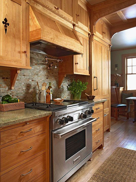 Natural cabinets and stone backsplash on pinterest for Natural wood kitchen designs
