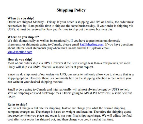 Shipping Policy Template 369 Policy Template Templates Policies