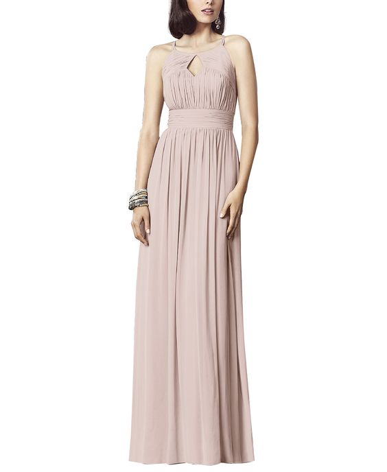 DescriptionDessy Collection Style 2906Full length bridesmaid dressModified halter necklineCutout detail in front and backShirred waistband and skirtLux chiffon