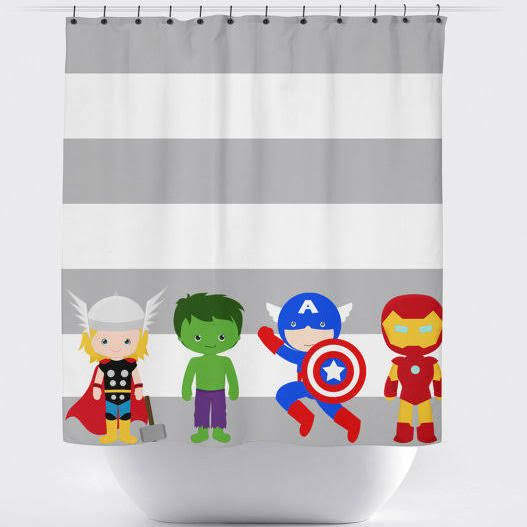 Stripped Superhero Curtains Superhero Shower Curtain Boys