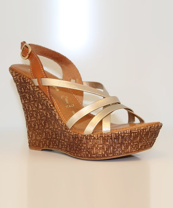 Look at this Contesa by Italian Shoemakers Tan & Platinum Lazya Wedge Sandal on #zulily today!
