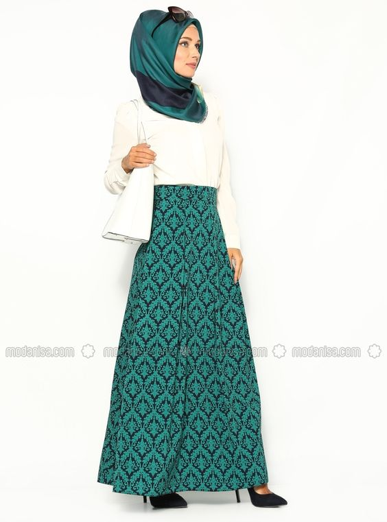 Patterned skirt - Green - Zernisan