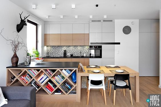 Kuchnia, stol, szara, drewno, biel Kuchnia   Kitchen Pinterest - charmantes appartement design singapur