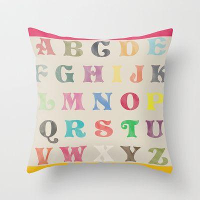 ALPHABET Throw Pillow by TT+SMITH by Haina - $20.00